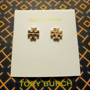 Tory burch t logo stud earrings